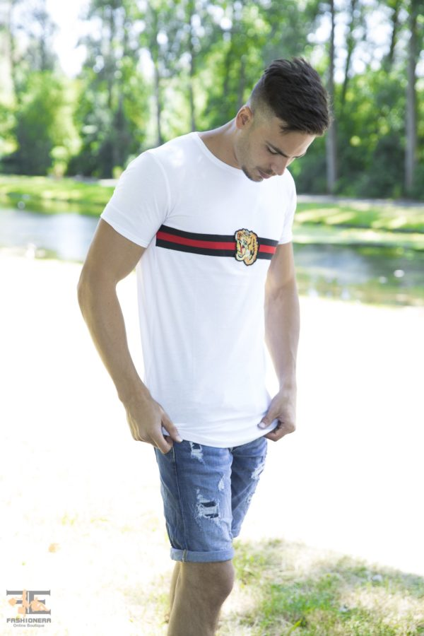 Creature Rood Band Heren T-Shirts – Wit 100